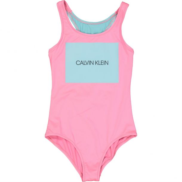 Girls Pink Branded Swimsuit