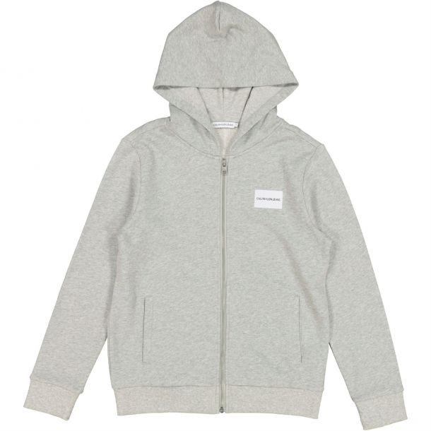 Boys Grey Logo Zip Up Hoodie