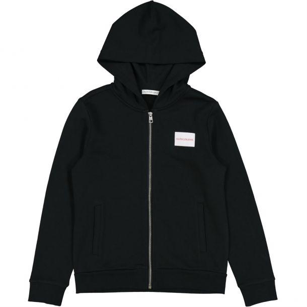 Boys Black Logo Zip Up Hoodie