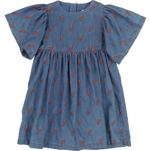 Girls Horse Print Denim Dress