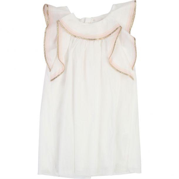 Girls Gold Frill White Dress