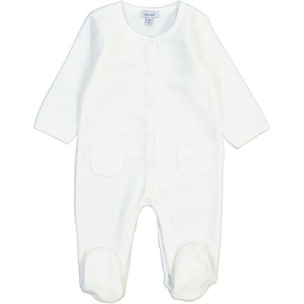 Baby Ribbed Ivory Velour Romper