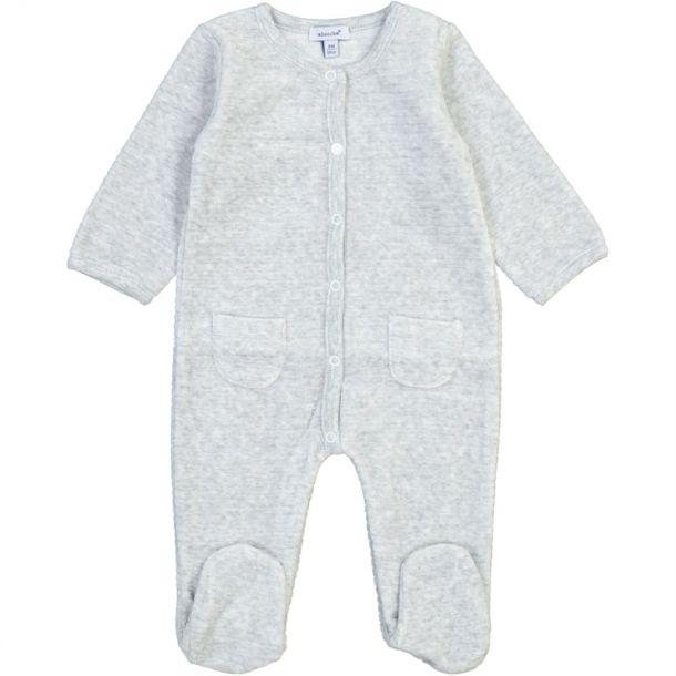 Baby Ribbed Grey Velour Romper