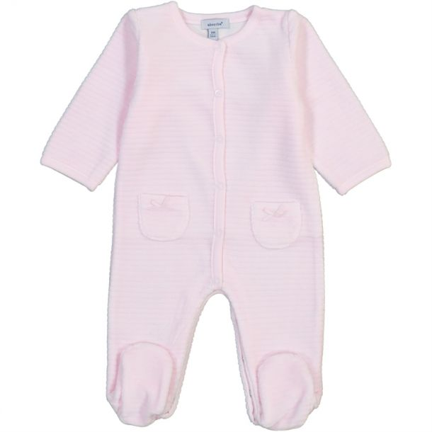 Baby Girl Ribbed Velour Romper