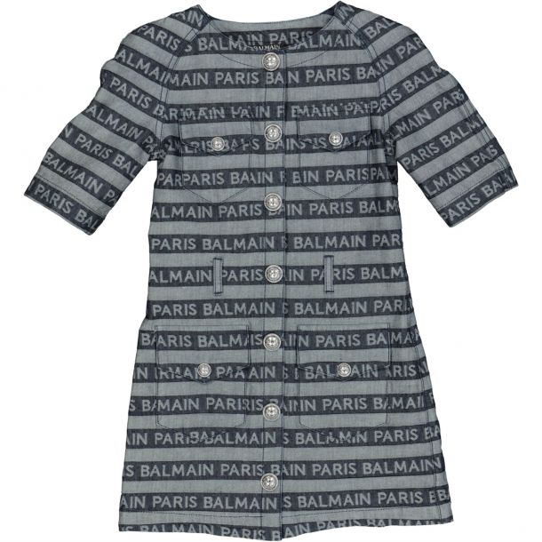 Girls Balmain Paris Logo Dress