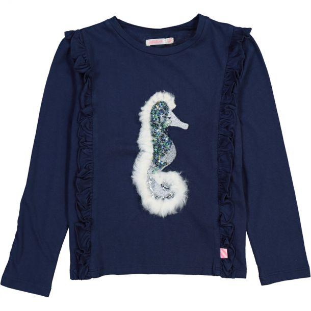 Girls Navy Sea Horse T-shirt