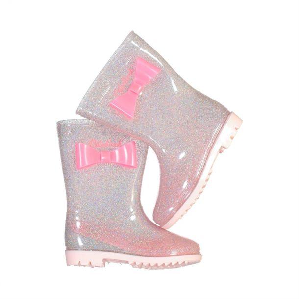 Girls Glitter Bow Wellie Boot