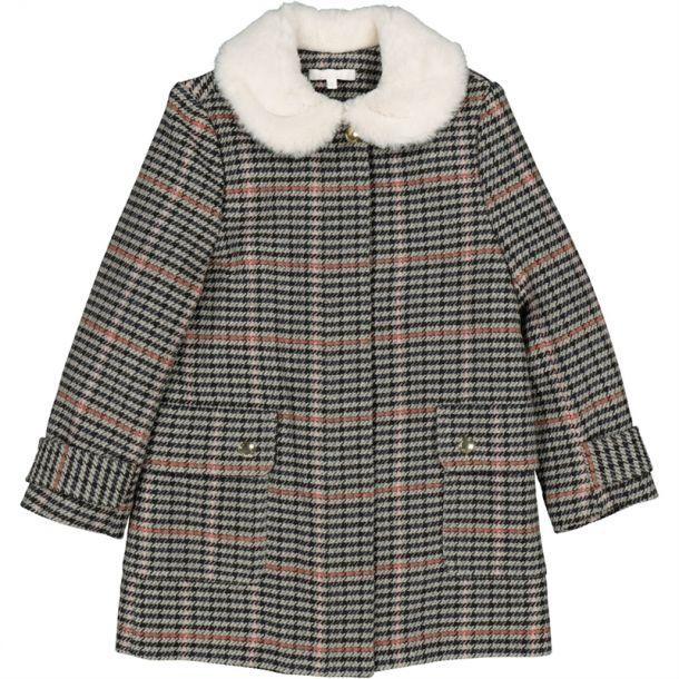 Girl Check Faux Fur Collar Coat