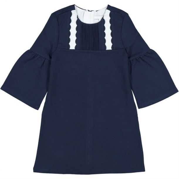 Girls Navy & Ivory Trim Dress
