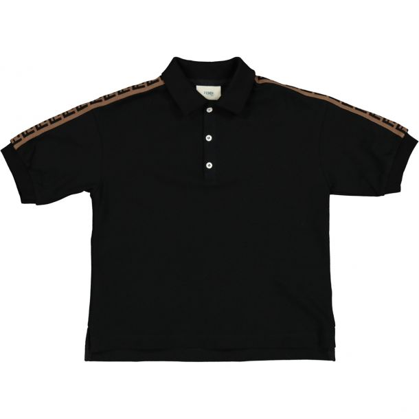 Boys Black 'ff' Logo Polo Top