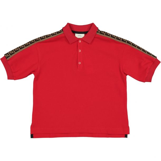 Boys Red 'ff' Logo Polo Top