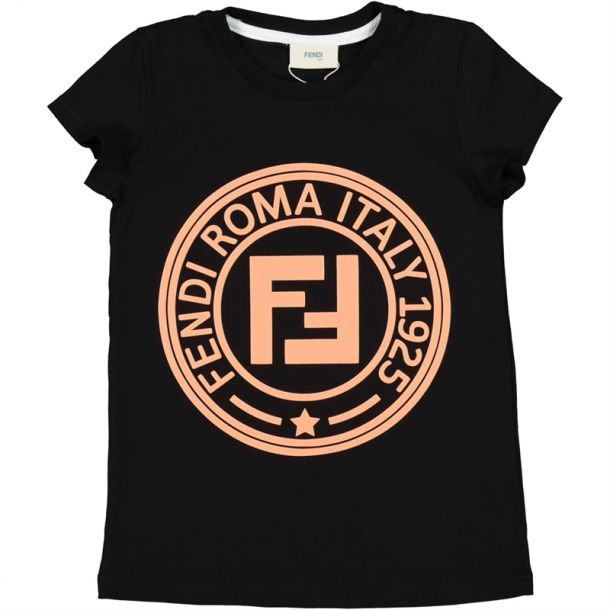 Girls Black Fendi Roma T-shirt