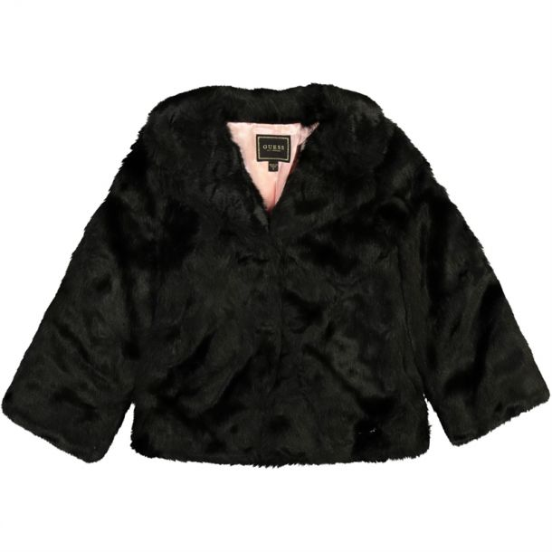 Girls Faux Fur Branded Coat