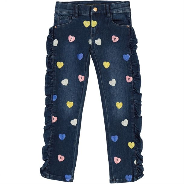 Girls Sequin Heart Frill Jeans