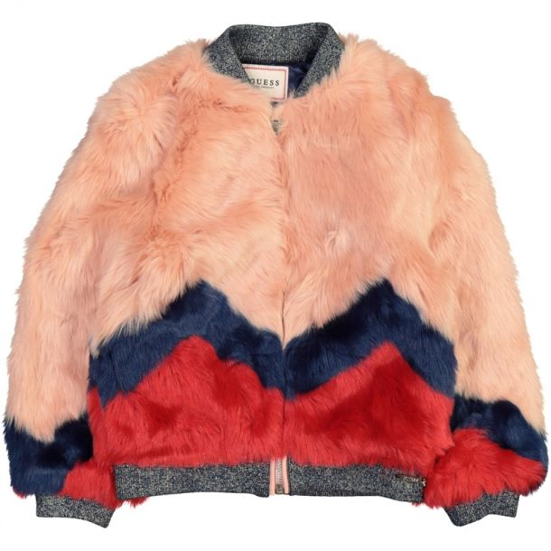 Girls Pink Faux Fur Bomber