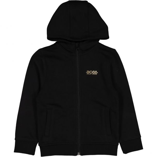 Boys Black Branded Zip Up