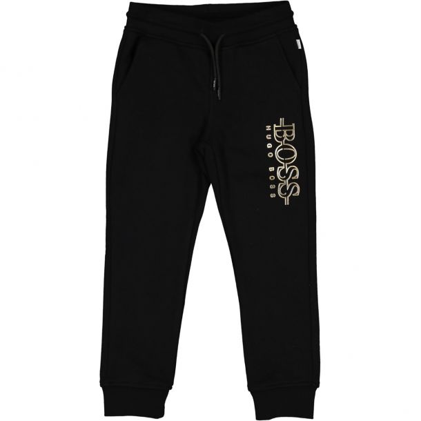 Boys Black Branded Track Pants