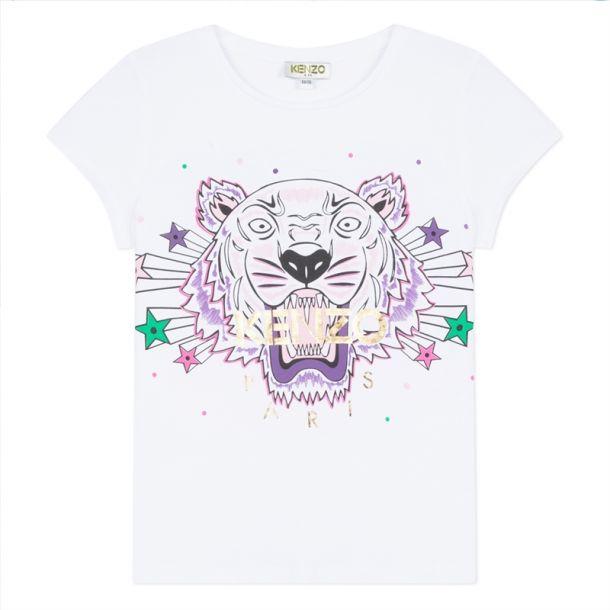 Girls White Tiger Star T-shirt