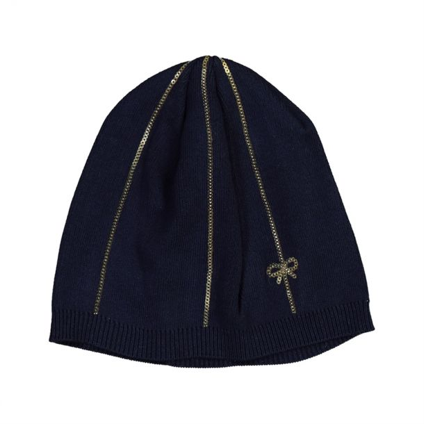 Girls Navy Bow & Sequin Hat
