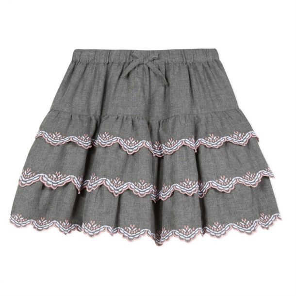 Girls Grey Embroidered Skirt