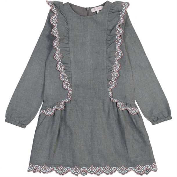 Girls Grey Embroidered Dress