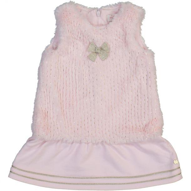 Baby Girls Pink Faux Fur Dress