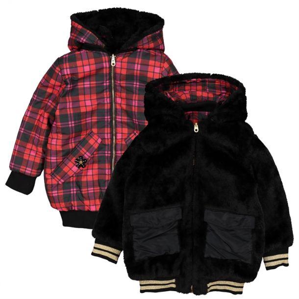 Girls Check & Faux Fur Coat