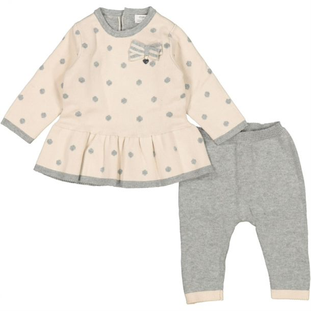 Baby Girls Grey Spot Knit Set
