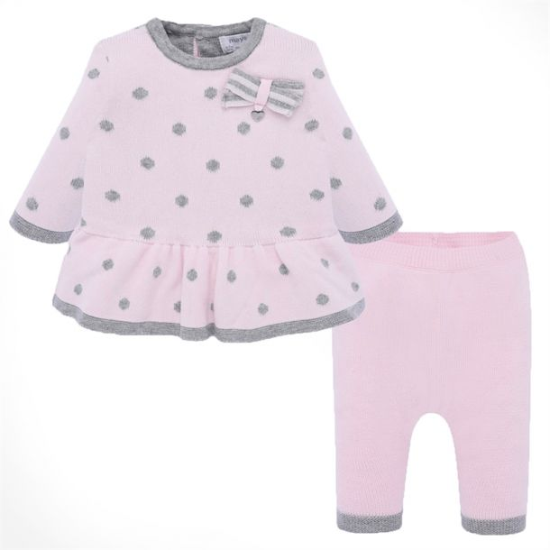 Baby Girls Pink Spot Knit Set