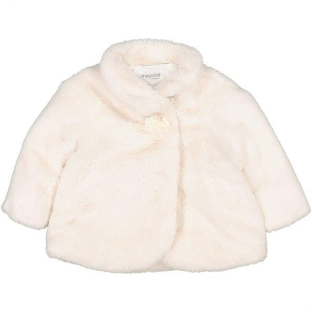 Baby Girls Cream Faux Fur Coat