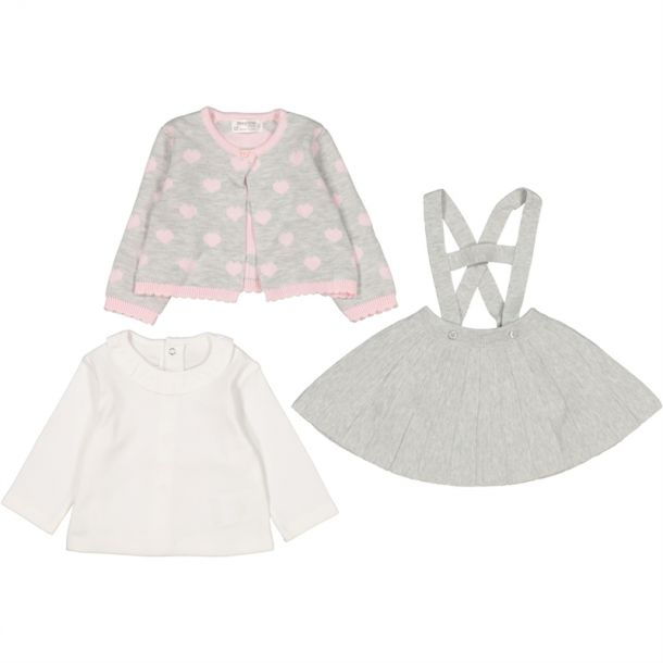 Baby Girls Grey Heart Knit Set