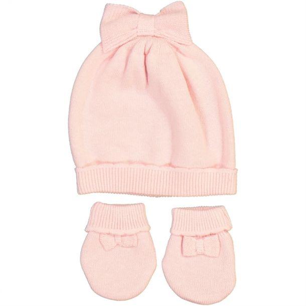 Baby Girls Pink Hat Mitten Set