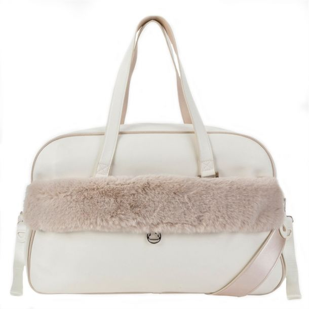 Baby Cream Faux Fur Change Bag