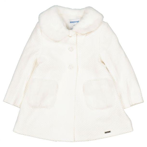 Baby Girls Ivory Faux Fur Coat