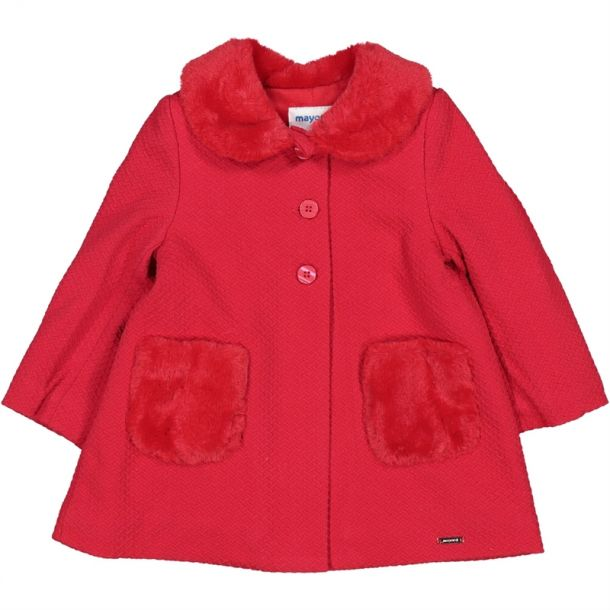 Baby Girls Red Faux Fur Coat