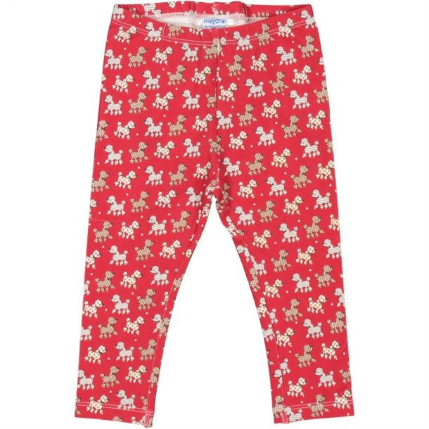 Baby Girls Red Poddle Leggings