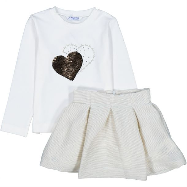 Girls Heart Top & Skirt Set