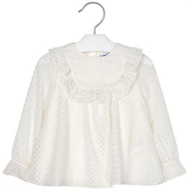 Girls Cream Sparkle Blouse