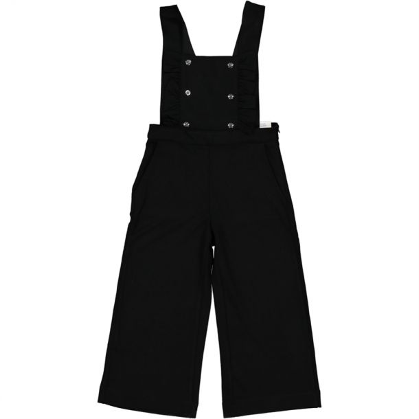 Girls Black Jersey Dungaree