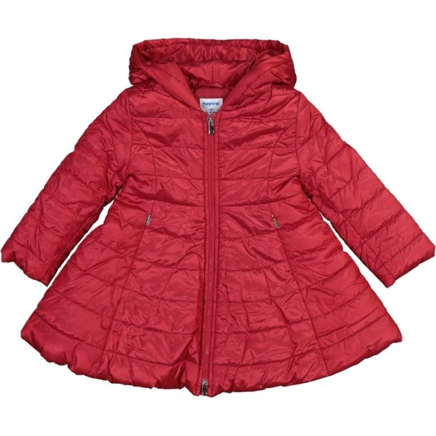 Girls Red Padded Swing Coat