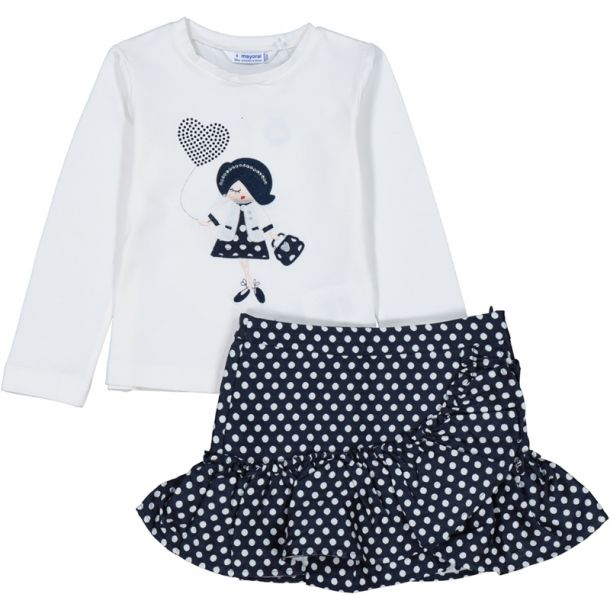 Girl Polka Dot Top & Skirt Set