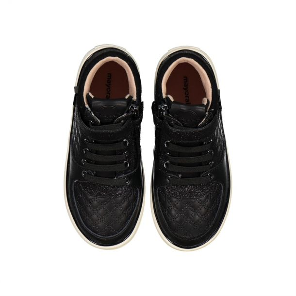 Girls Black Lace Up High Tops