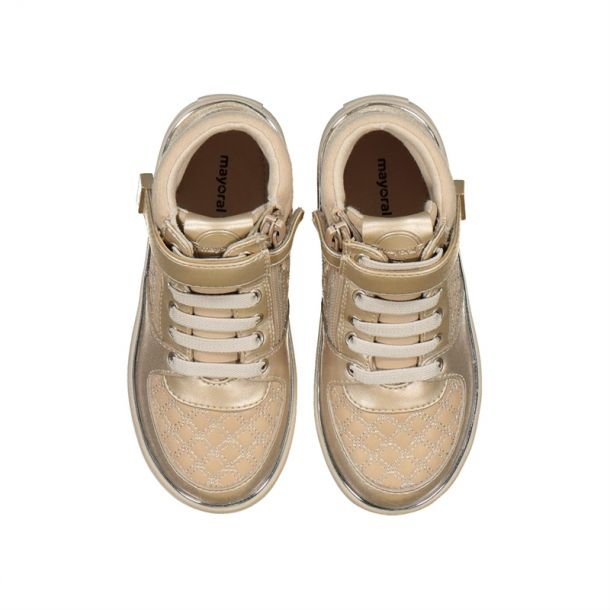 Girls Gold Lace Up High Tops