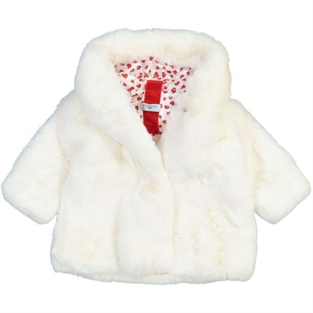Baby Girls Heart Faux Fur Coat