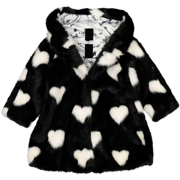 Girls Heart Faux Fur Coat