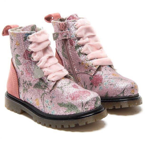 Girls Glitter Floral Boots