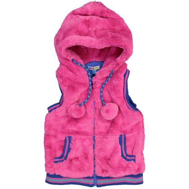 Girls Pink Faux Fur Gilet