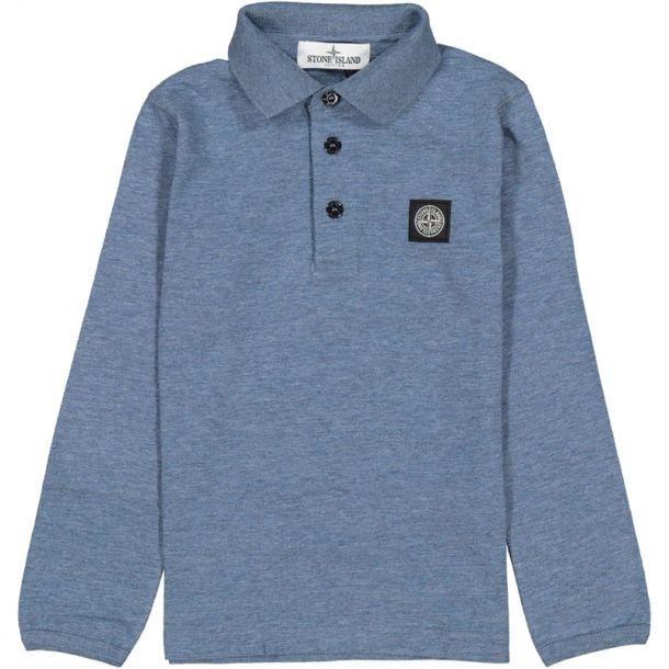 Boys Blue Marl Cotton Polo