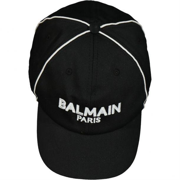 Boys Black Branded Trim Cap