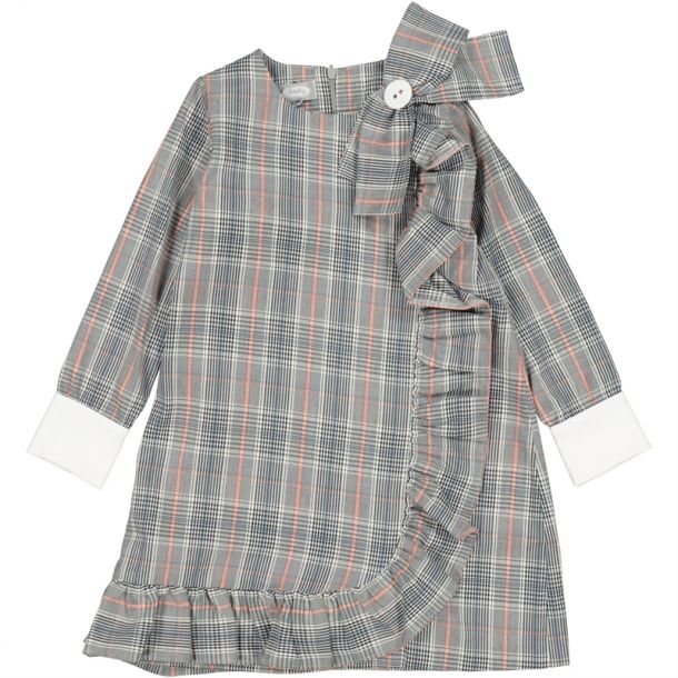 Girls Grey Check Bow Dress